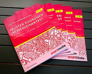 Band 1 bis 5 der smartmedix-Reihe zur Vorbereitung auf den TMS.