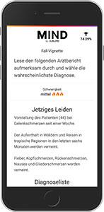 Mit der App MIND kann man anhand von generierten Fällen sein medizinisches Fachwissen testen.